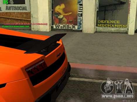 Lamborghini Gallardo LP560-4 SL UGR Altecho para GTA San Andreas vista posterior izquierda