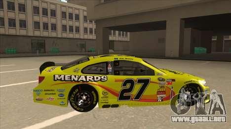 Chevrolet SS NASCAR No. 27 Menards para GTA San Andreas vista posterior izquierda