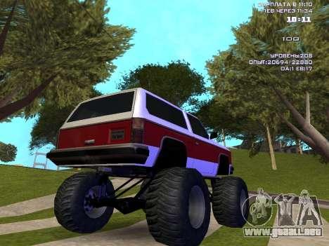 Rancher Monster para GTA San Andreas vista posterior izquierda