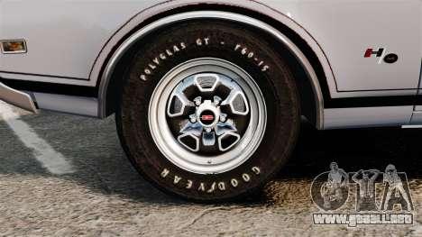 Oldsmobile Cutlass Hurst 442 1969 v2 para GTA 4 vista hacia atrás