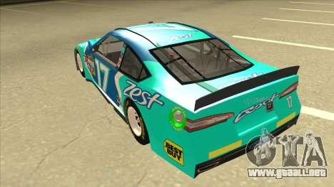 Ford Fusion NASCAR No. 17 Zest Nationwide para GTA San Andreas vista hacia atrás