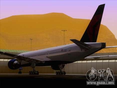 Boeing 777-200ER Delta Air Lines para GTA San Andreas vista hacia atrás