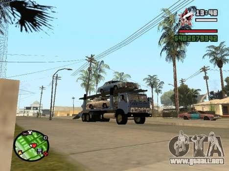 Camión KAMAZ 43085 para GTA San Andreas vista posterior izquierda
