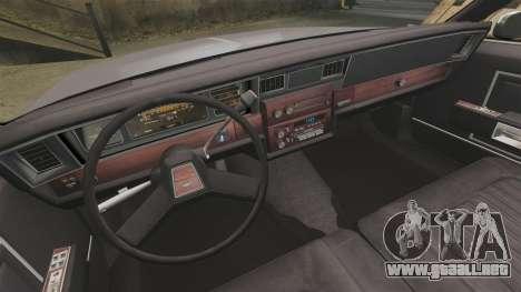 Chevrolet Impala 1985 para GTA 4 vista hacia atrás