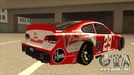 Chevrolet SS NASCAR No. 29 Budweiser para la visión correcta GTA San Andreas