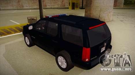 Cadillac Escalade 2011 FBI para GTA San Andreas vista hacia atrás