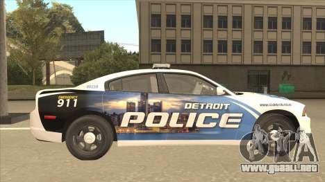 Dodge Charger Detroit Police 2013 para GTA San Andreas vista posterior izquierda