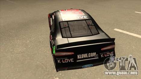 Ford Fusion NASCAR No. 98 K-LOVE para GTA San Andreas vista hacia atrás