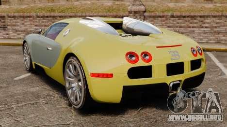 Bugatti Veyron Gold Centenaire 2009 para GTA 4 Vista posterior izquierda