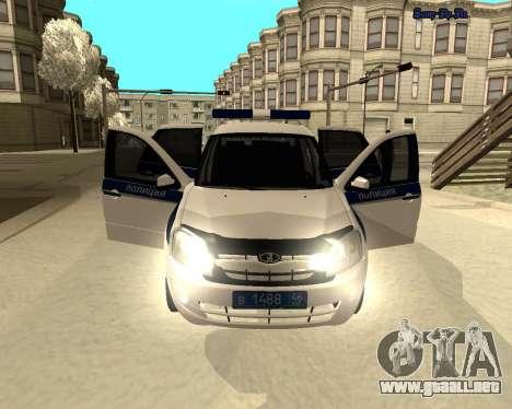 Lada Granta 2190 policía v 2.0 para visión interna GTA San Andreas