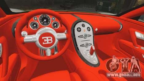 Bugatti Veyron Gold Centenaire 2009 para GTA 4 vista interior
