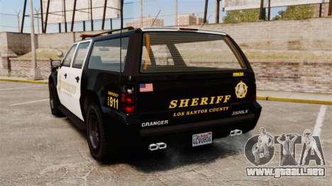 GTA V Declasse Granger Sheriff para GTA 4 Vista posterior izquierda