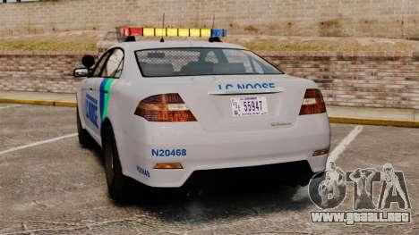 GTA V Vapid Police Stanier Interceptor [ELS] para GTA 4 Vista posterior izquierda