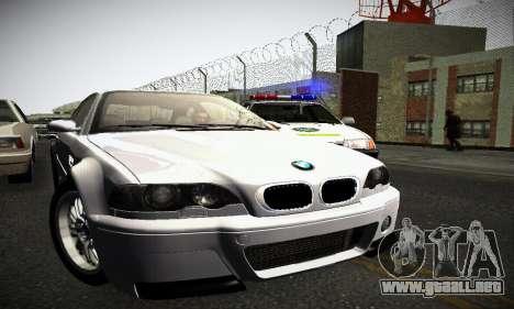 BMW E46 M3 CSL para GTA San Andreas vista posterior izquierda