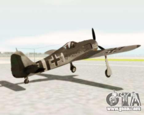 Focke-Wulf FW-190 A5 para GTA San Andreas vista posterior izquierda
