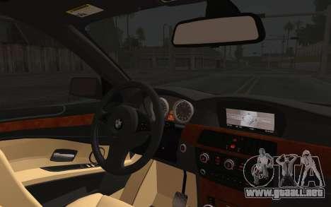 BMW 530xd DPS para GTA San Andreas vista hacia atrás