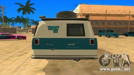 News Van HQ para GTA San Andreas vista posterior izquierda