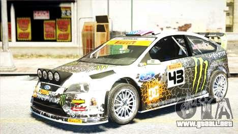 Ford Focus RS Monster World Rally Team WRC para GTA 4 Vista posterior izquierda
