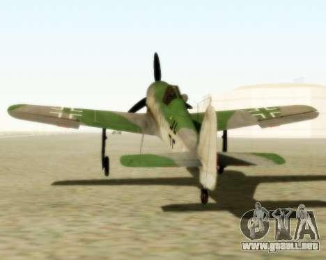 Focke-Wulf FW-190 D12 para GTA San Andreas vista posterior izquierda