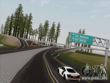 Audi R8 V10 Plus para GTA San Andreas vista hacia atrás