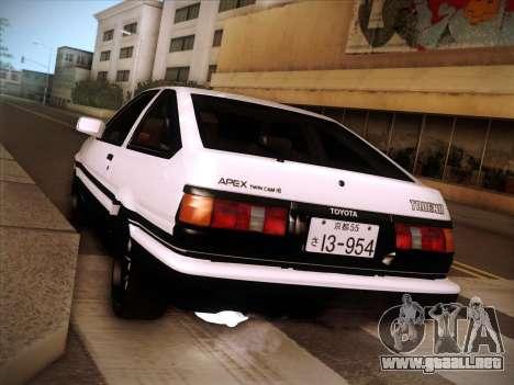 Toyota Trueno AE86 Initial D 4th Stage para la visión correcta GTA San Andreas