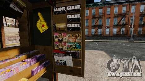 Nuevos productos en el quiosco del café para GTA 4 adelante de pantalla
