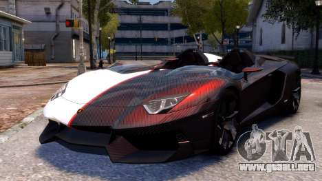 Lamborghini Aventador J 2012 Carbon para GTA 4 Vista posterior izquierda