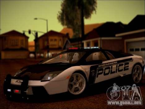 Lamborghini Murciélago policía 2005 para GTA San Andreas vista hacia atrás