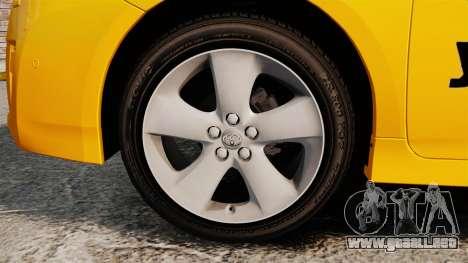 Toyota Prius 2011 Adelaide Yellow Taxi para GTA 4 vista hacia atrás