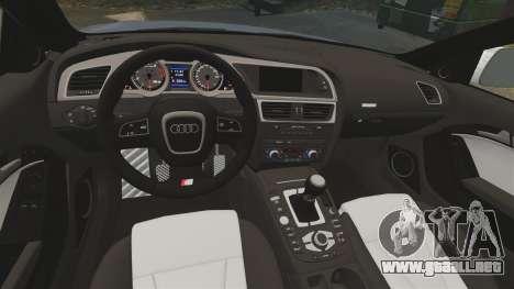 Audi S5 Convertible 2012 para GTA 4 vista hacia atrás