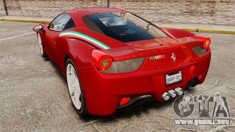 Ferrari 458 Italia 2010 Novitec para GTA 4 Vista posterior izquierda