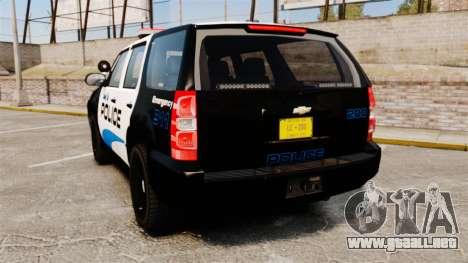 Chevrolet Tahoe Police [ELS] para GTA 4 Vista posterior izquierda