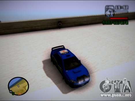 Subaru Impreza WRX STI WRC para GTA San Andreas vista posterior izquierda