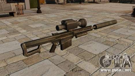 Rifle de francotirador Barrett M82A1 con silenci para GTA 4 segundos de pantalla