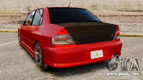 Mitsubitsi Lancer MR Evolution VIII 2004 Tuning para GTA 4 Vista posterior izquierda