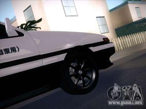 Toyota Trueno AE86 Initial D 4th Stage para GTA San Andreas vista posterior izquierda