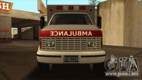 Ambulance HD from GTA 3 para GTA San Andreas vista posterior izquierda