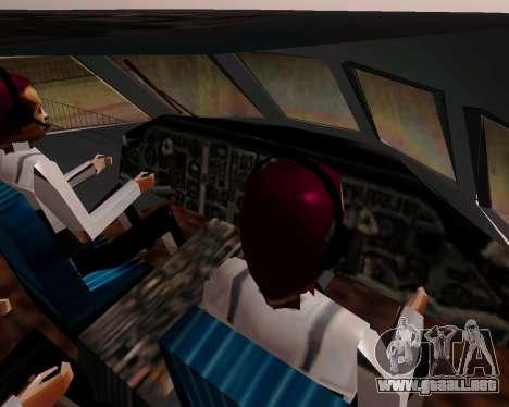 Yak-42 d UTair para GTA San Andreas vista hacia atrás