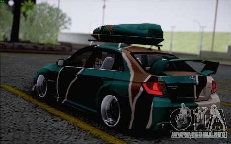 Subaru Impreza Arma para GTA San Andreas vista posterior izquierda
