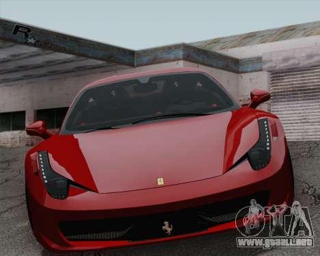 Ferrari 458 Italia 2010 para visión interna GTA San Andreas