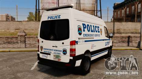 Mercedes-Benz Sprinter 3500 Emergency Response para GTA 4 Vista posterior izquierda