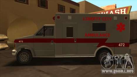 Ambulance HD from GTA 3 para GTA San Andreas left