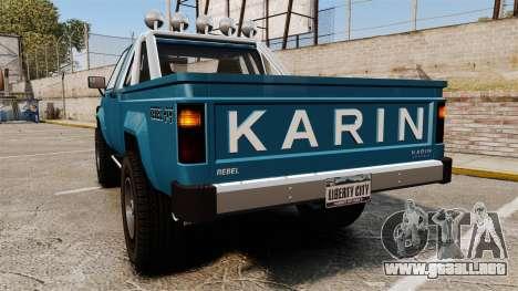 Karin Rebel 4x4 v2.0 para GTA 4 Vista posterior izquierda