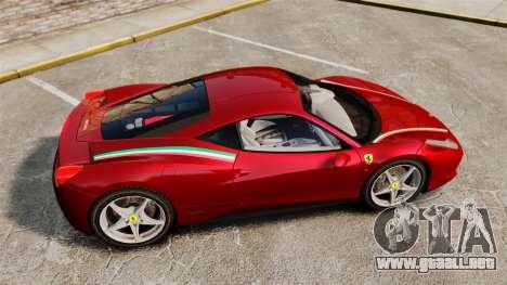 Ferrari 458 Italia 2010 Novitec para GTA 4 left