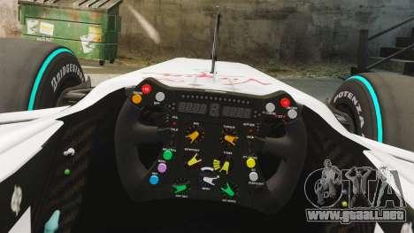 Brawn BGP 001 2009 para GTA 4 vista hacia atrás