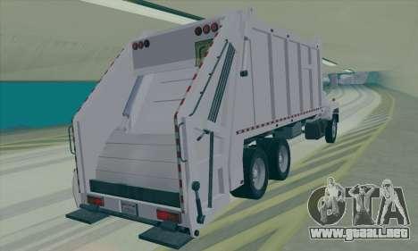 GMC C550 Topkick Trashmaster para GTA San Andreas vista posterior izquierda