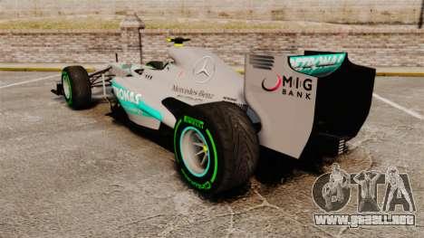 Mercedes AMG F1 W04 v4 para GTA 4 Vista posterior izquierda