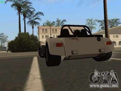 Caterham 7 Superlight R500 para GTA San Andreas vista posterior izquierda