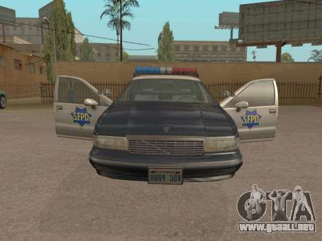 Chevrolet Caprice SFPD 1991 para GTA San Andreas vista posterior izquierda