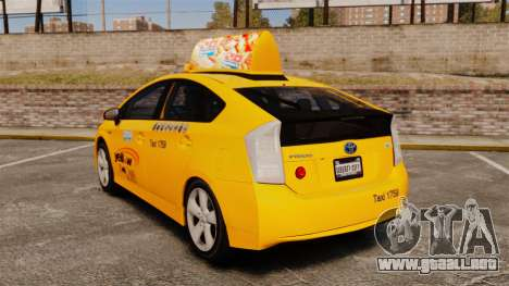 Toyota Prius 2011 Adelaide Yellow Taxi para GTA 4 Vista posterior izquierda